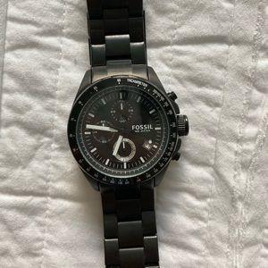 Men's Black Stainless Steel Fossil Watch